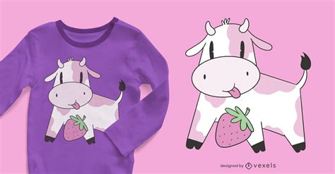 Strawberry Cow T-shirt Design - Vector Download