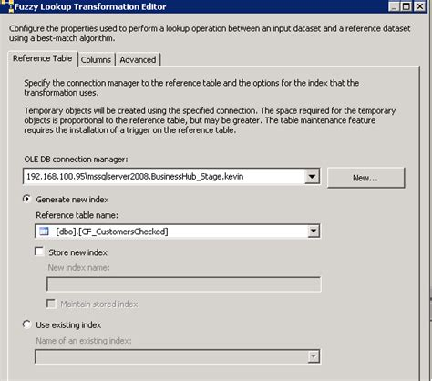 ssis 2008 fuzzy lookup never finish but package execution