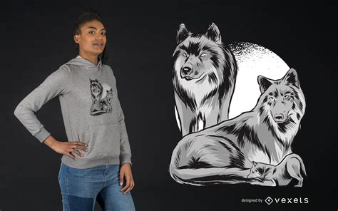 Wolf Family Pack T-shirt Design - Vector Download